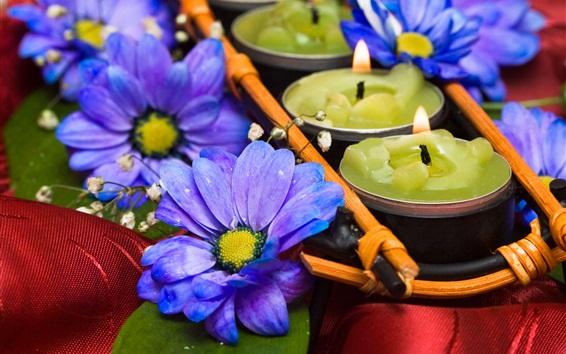 Wallpaper Blue chrysanthemum, candles, flame, SPA