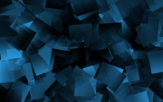 Wallpaper Blue shapes, abstract, black background