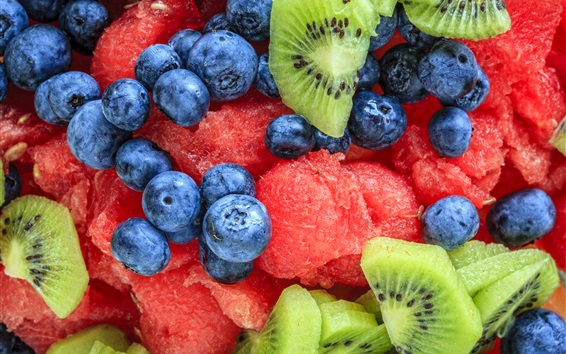 Wallpaper Blueberries, watermelon, kiwi, fruit salad
