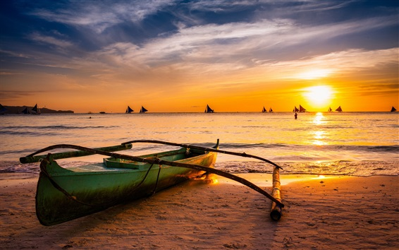 Wallpaper Boat, sea, sunset