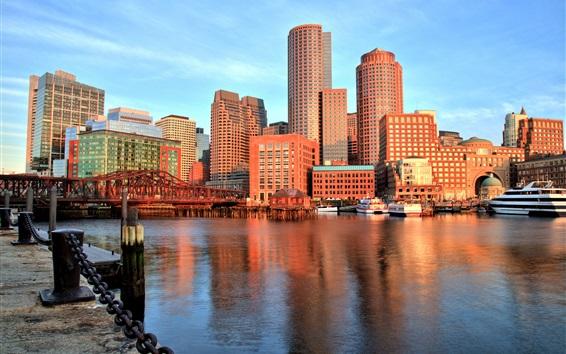 Wallpaper Boston, Massachusetts, USA, bay, skyscrapers
