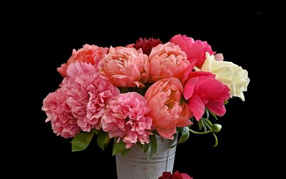 Wallpaper Bouquet flowers, pink peonies, bucket, black background