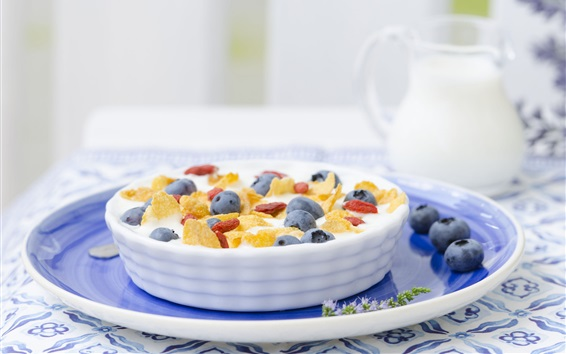 Wallpaper Breakfast, blueberries, berries, milk, cereal, food