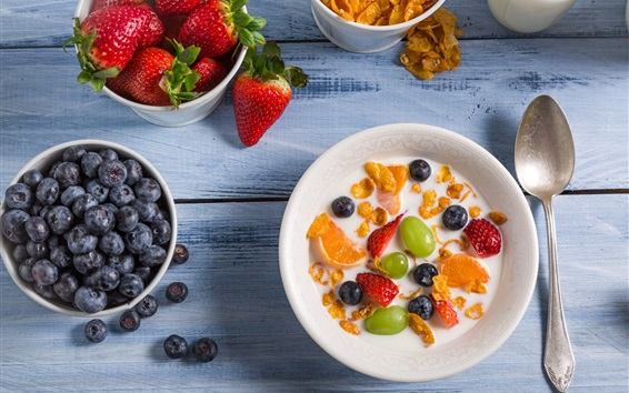 Обои Завтрак, фруктовый салат, клубника, черника