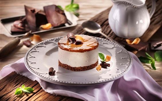 Wallpaper Cake, chocolate, cream, dessert