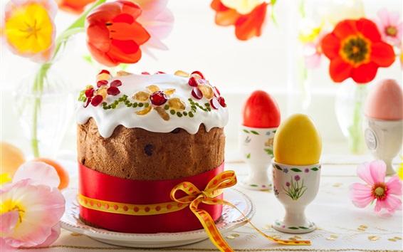 Wallpaper Cake, flowers, eggs, tulips, Easter theme