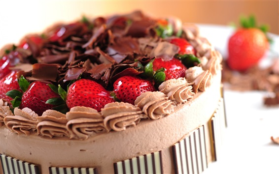 Wallpaper Cake, strawberry, chocolate, cream, food