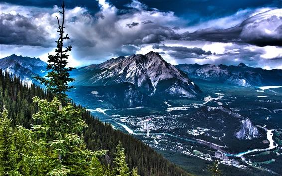 Fondos de pantalla Canadá paisaje hermoso de la naturaleza, montañas, árboles, nubes, estilo HDR