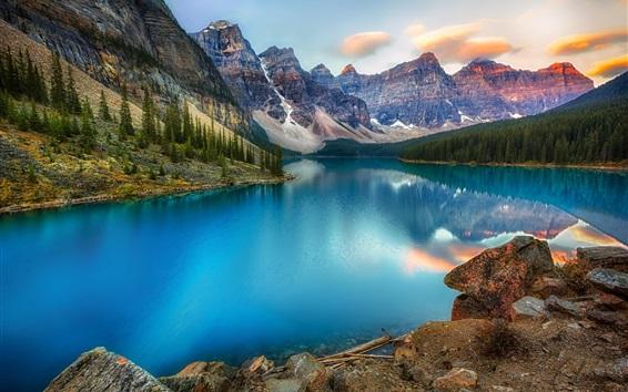 Papéis de Parede Canadá, lago, montanhas, floresta, linda paisagem natural