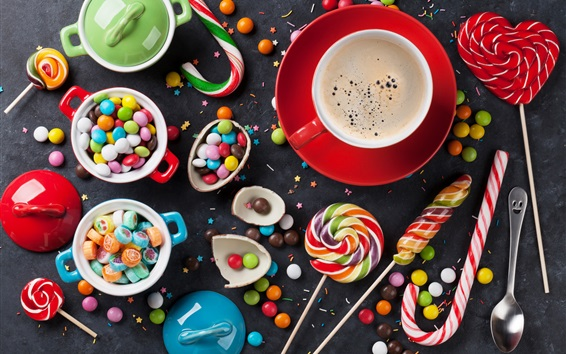 Wallpaper Candy pills, lollipops, coffee, colorful
