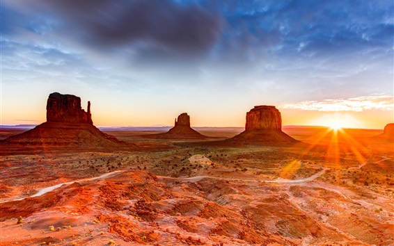 Fond d'écran Canyon, désert, rochers, coucher de soleil, États-Unis