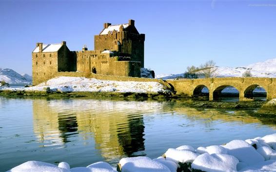 Fondos de pantalla Castillo, puente, río, nieve, invierno