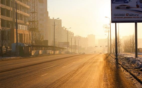 Fond d'écran Chelyabinsk, Russie, ville, matin, route, éblouissement