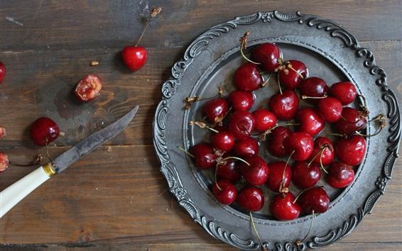 Wallpaper Cherries, delicious fruit, plate, knife