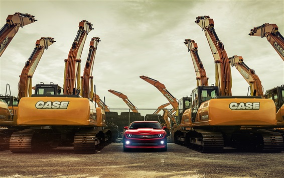 Wallpaper Chevy Camaro red supercar and excavators