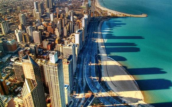 Fondos de pantalla Chicago, ciudad, costa, rascacielos, carreteras, mar, América