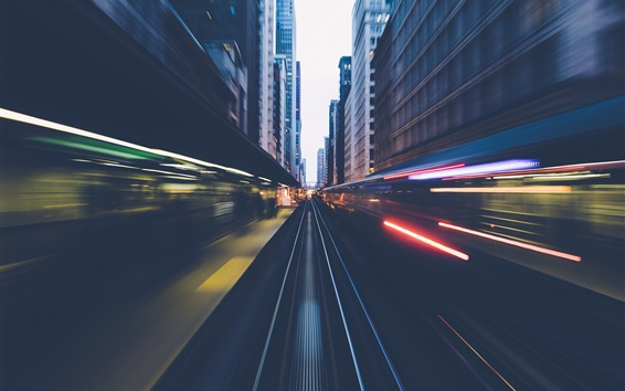 Wallpaper Chicago, train, railroad, speed, city, USA