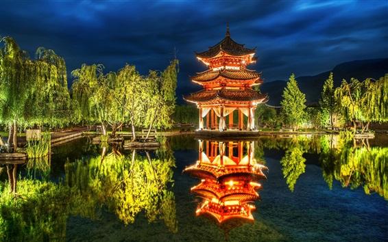 Wallpaper China, pavilion, park, pond, trees, lights, night