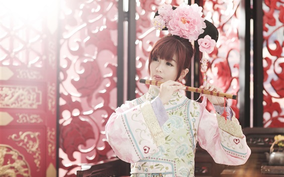 Wallpaper Chinese girl, retro style, play flute