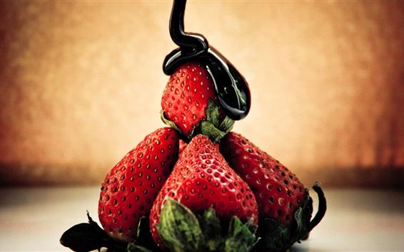 Wallpaper Chocolate and strawberries