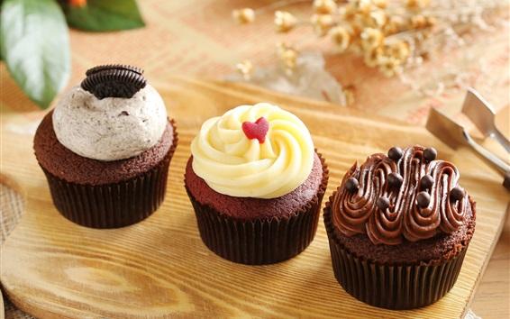 Wallpaper Chocolate cupcakes, muffins, cream