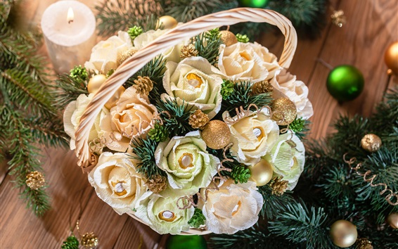 Wallpaper Christmas decoration, roses, candy, twigs, candle