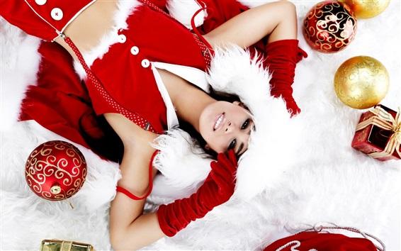 Wallpaper Christmas girl, decoration, balls