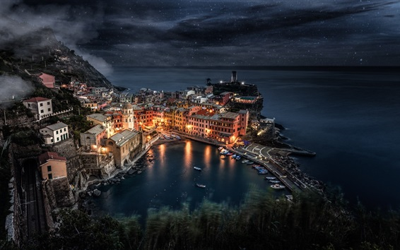 Wallpaper Cinque Terre, Italy, night, sea, houses, lights, top view