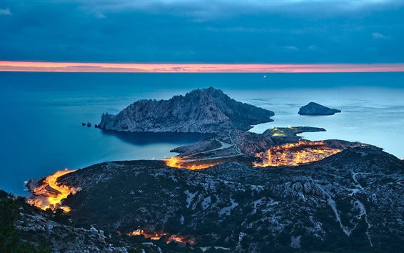 Wallpaper City, mountains, sea, lights, night view