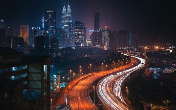 Wallpaper City night, roads, skyscrapers, lights, Malaysia, Kuala Lumpur