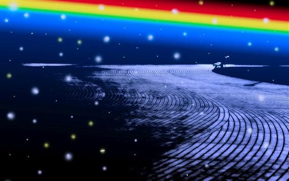Fondos de pantalla Ciudad, carretera, banco, anochecer, arco iris, diseño creativo