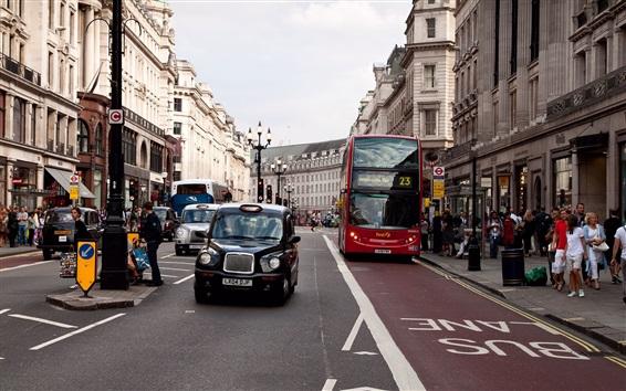 Обои Городская улица, дорога, автомобили, люди, здания, Лондон