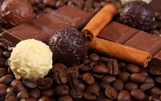 Wallpaper Coffee beans and chocolate candy