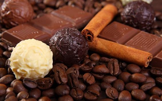 Fond d'écran Fèves de café et bonbons au chocolat