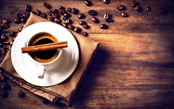 Fond d'écran Fèves de café, tasse, boisson, soucoupe, cannelle