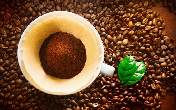 Papéis de Parede Grãos de café, copo, folha verde