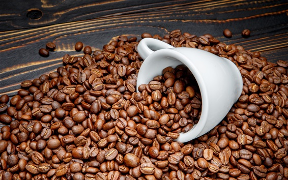 Wallpaper Coffee beans, white cup