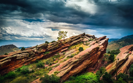 Wallpaper Colorado, USA, red rocks, tree, clouds, dusk