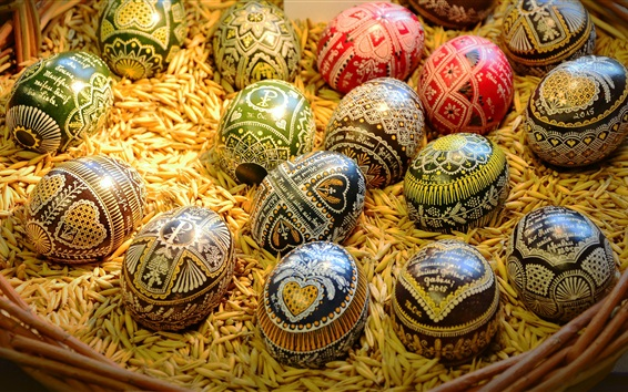 Papéis de Parede Ovos coloridos, Páscoa, grão