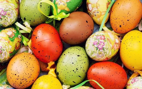 Обои Красочные яйца крупным планом, счастливая Пасха