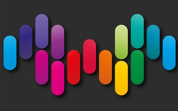 Wallpaper Colorful geometric shapes, rainbow colors, abstract