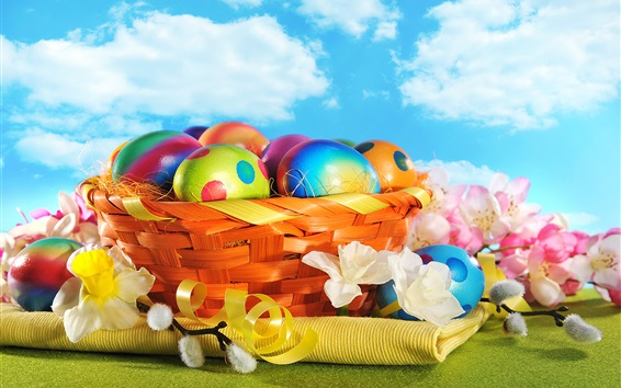Wallpaper Colorful painted eggs, flowers, basket, Happy Easter