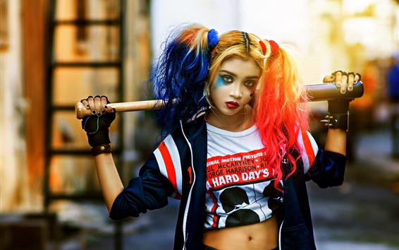 Wallpaper Cosplay girl, Harley Quinn, colorful hair