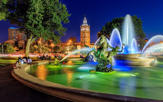Wallpaper Country Club Plaza, fountain, sculpture, night, Kansas City, Missouri, USA