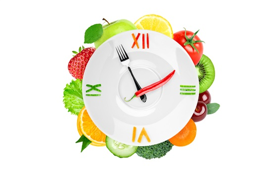 Wallpaper Creative clock, vegetables and fruits