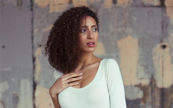 Wallpaper Curly hair girl, white clothing