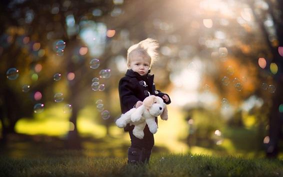 Wallpaper Cute little boy, child, dog toy, bubbles