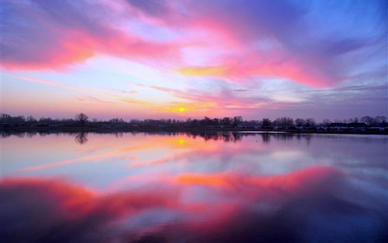 Обои Куксхафен, Германия, деревья, озеро, закат