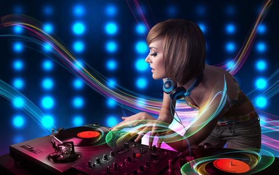 Fond d'écran DJ, fille, lignes d'abstraction, casque, enregistrement, thème musical