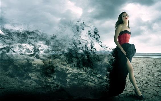 Wallpaper Darkness girl, smoke